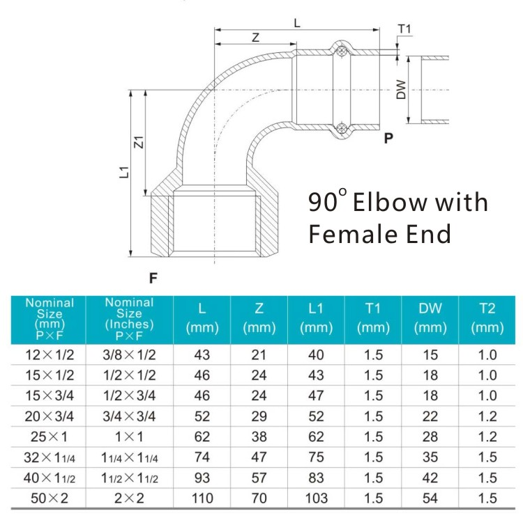 90 elbow with female