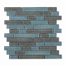 Soulscrafts blue glossy glass textile linear mosaic