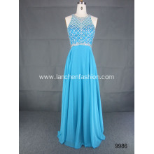 Woman's Beaded Floor Length Turquoise Evening Dress