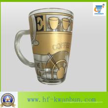 Golden Hot Sale Tea Coffee Glass Mug avec décalque de table