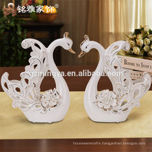 Factory ceramic swan statue for home decoration ceramic crafts and arts swan procelain ceramic gift