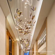 Luxurious custom villa lobby golden petaloid chandelier lamp