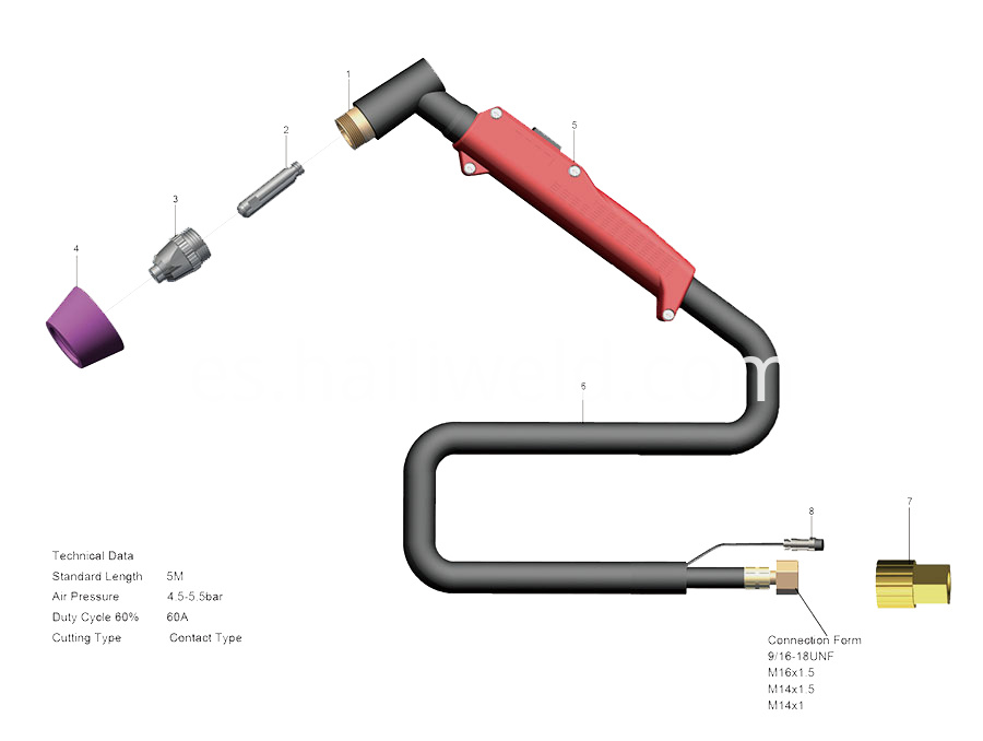 Sg 55 Ag 60 Air Cooled Plasma Cutting Torch
