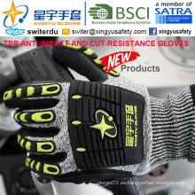 Resistencia a la Corte y Anti-Impacto Guantes TPR, 13G Hppe Shell Cut-Level 3, Sandy Nitrilo Palm revestido, anti-impacto TPR en los guantes de mecánica trasera