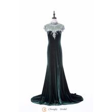 2017 Vestidos de noche de lujo de lujo de alta calidad azul marino granos terciopelo formal vestidos de alfombra roja