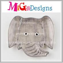 Prato de Louça Cerâmica Simples Elefante Cinzento