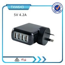 Rcm Us / EU / UK / Aus Plug 5V 4.2A Chargeur mural 4 ports