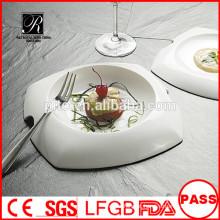 Atacado branco durável usado restaurante serve pratos / placa de jantar forma única