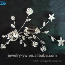 Moda astilla chapada de metal accesorios de pelo princesa cristal flor nupcial peines
