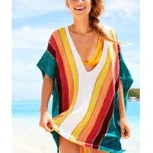 Couverture colorée à rayures de plage pour femme enceinte