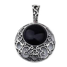 Black Agate 20MM Cabochon Alloy Gemstone Pendant