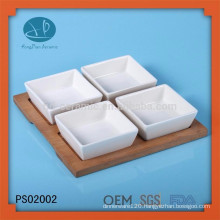 ceramic dish set with wooden tray,popular dish for sale,wood bowl