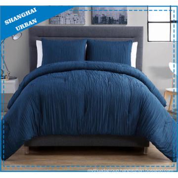 3 Piece Indigo Linen-Look Polyester Comforter Bedding