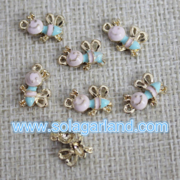 European Style Oil Drop Honeybee Metal Beads Pendants For Jewellery Making