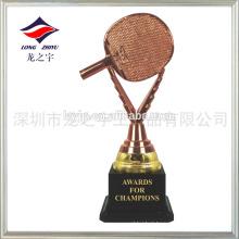 Troféu de tênis de mesa em pó de bronze de plástico Taça de troféu de tênis de mesa