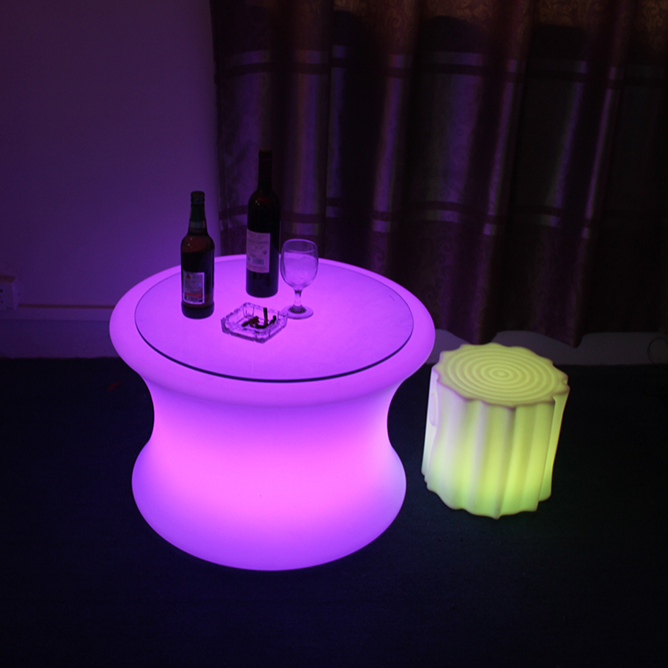 Modern Plastic Material Led Round Center Table