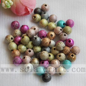 Frosted Colorful Foil Round Beads Loose Scatter Beads