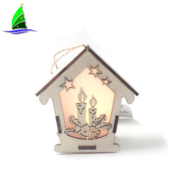 Casa de madeira com LED Night Christmas Tree Decoration