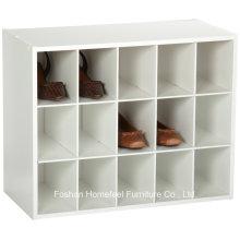 Gabinete de armazenamento em madeira de 15 cubos empilhável de madeira branca