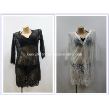 Sexy Ladies′ Coverup Swimwear Blouse, Striped Lace