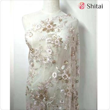 Elegant embroidery wedding fabric