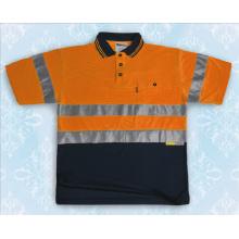 Wasser-Beweis-Mens-orange reflektierendes Sicherheits-Polo-Hemd