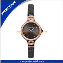 La plus grande montre de bracelet de visage de dame d'acier inoxydable montre à quartz