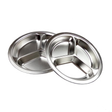 food grade round 3 compartment divided stainless steel lunch tray with lid
