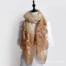 Fashion scarf 2017 new arrival women long embroidery floral wool and silk blend scarf shawl