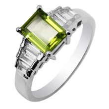 Péridot argent bijoux anneau (GR0048)