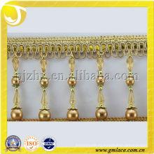 Alta franja de fantasía perlas borla con forma de cilindro
