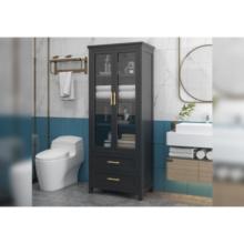 Armoires de rangement de salle de bain en bois vieilli