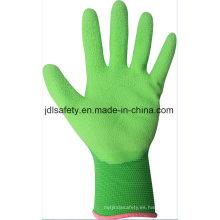 Nylon colorido punto guante de trabajo con espuma de nitrilo sumergir (N1606)