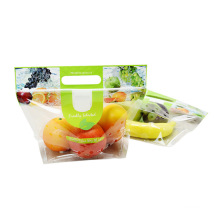 Customized Fruit Vegetable Package Bag with Hole Clear Zipper Top OPP Bag