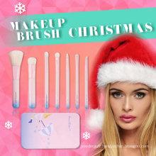 Beautiful Metal Case 7PCS Makeup Brush Set for Christmas Gift