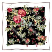 Bufanda de seda Nuevo patrón de flores cuadrados Bufanda de seda GGT