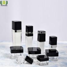 Bouteille acrylique carrée en gros, bouteille acrylique carrée pour cosmétiques, pot de crème acrylique et bouteille de lotion cosmétique