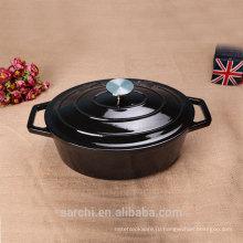 Овальная тарелка с кастрюлью Эмалированная чугунная посуда