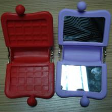 Bolso cosmético vendedor caliente del espejo y del espejo del silicón de la Cuadrada-Forma mini