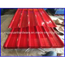 Folha de telhado de aço galvanizado corrugado pré-pintado