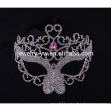 fashion metal silver plated up-half face masquerade female mask with crystal