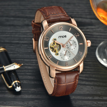 Low moq pu leather branded men watch