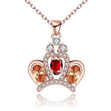 Foreign Trade Sales Beliebte Crown Zircon Anhänger Halskette Rose Gold überzogene Schmuck