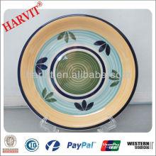 10.5''Decal Stoneware Plates Wholesale / China Supplier Machines pour la fabrication de plaques / Unique Hand-printing Catering Dinner Plates