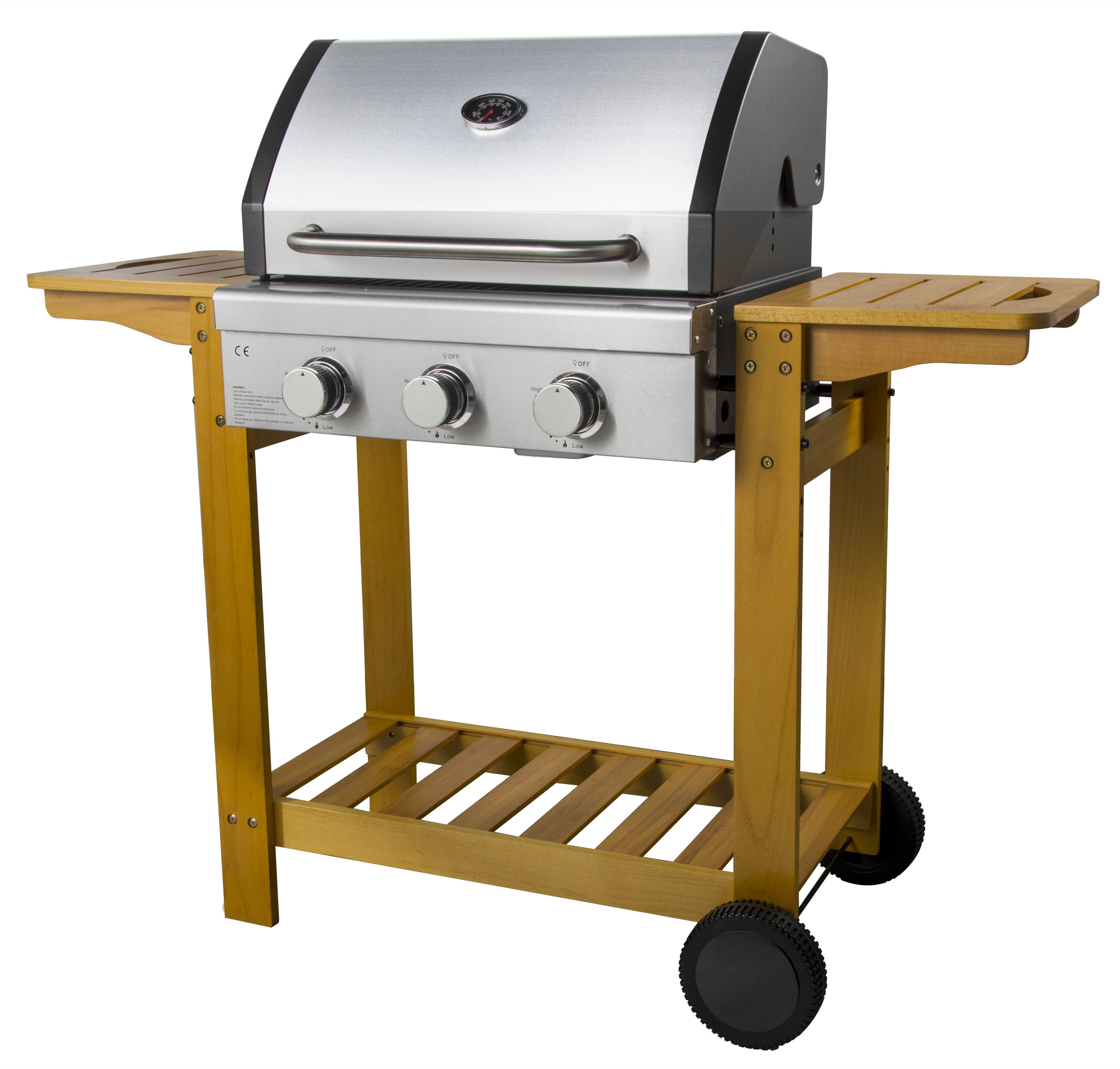 Wooden Trolley Gas BBQ Grill