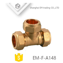 EM-F-A148 Brass quick connector Tee compression pex pipe fitting