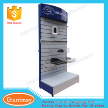 metal shelf with wooden back slat wall display stand
