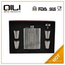 7oz debossing JB hip falsk with shot glass promotion gift set