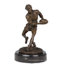 Sport Messing Statue Rugby Player Dekor Bronze Skulptur Tpy-304