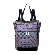 Bolsa de mão e mochila de PU luminosa geométrica